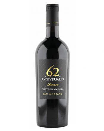 Vino Rosso Primitivo di Manduria Dop Anniversario 62 Riserva San Marzano Vintage 2015 350x438 - Anniversario 62 Primitivo di Manduria San Marzano