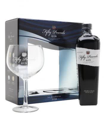 Fifty London Gin in confezione piu' bicchiere